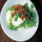 Moroccan style broad bean salad with yoghurt & crunchy bits